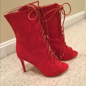 Shoes - Lace up ankle booties in red suede